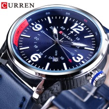 CURREN Blue Storm Design Genuine Leather Belt Calendar Display Mens Watches Top Brand Luxury Quartz Sport Wrist Watch Male Clock