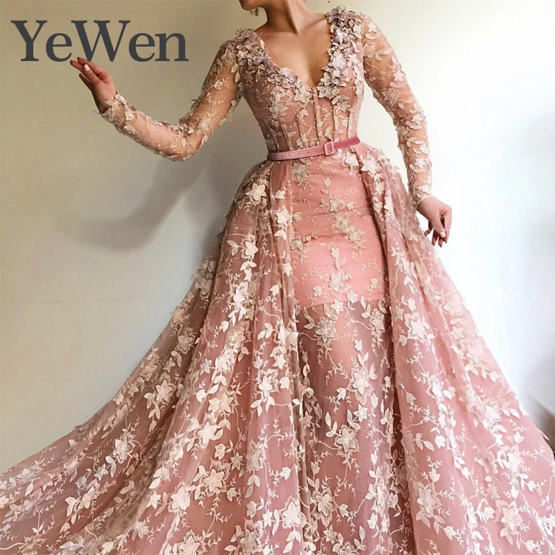 YeWen Muslim   Evening     dress   Long Sleeves Lace   Evening     Dresses   2019 New Flowers Lace Appliques V-Neck Pearls Fashion Prom Gowns