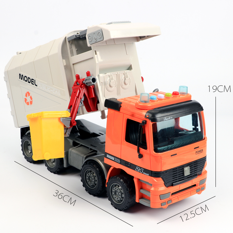 Big Engineering Car Garbage Truck Toy Dump Four Wheel Shock Light Music Environmental Sanitation Vehicle for