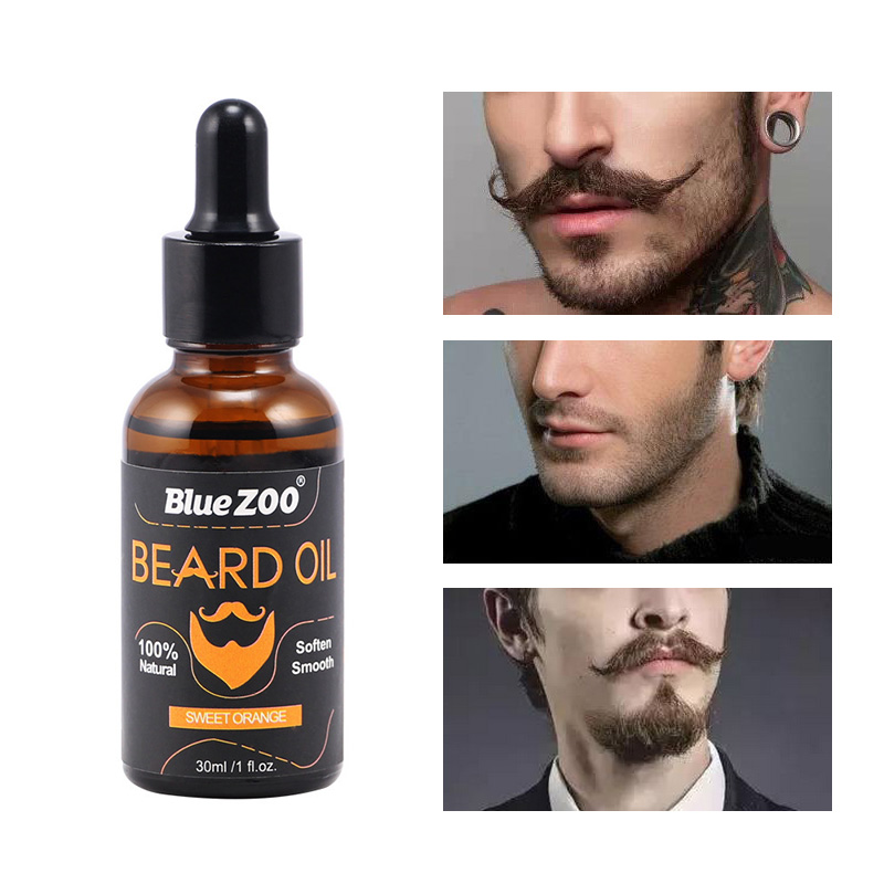 30ml Bluezoo Beard Oil Organic Natural Acceler Growth Hair Moustache Oil Thick Treatment Serum Product Beard Shaping 2018