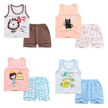 2Pcs/Set Children Girls Boys Soft Cotton Cute Cartoon Printing Vest + Shorts Set