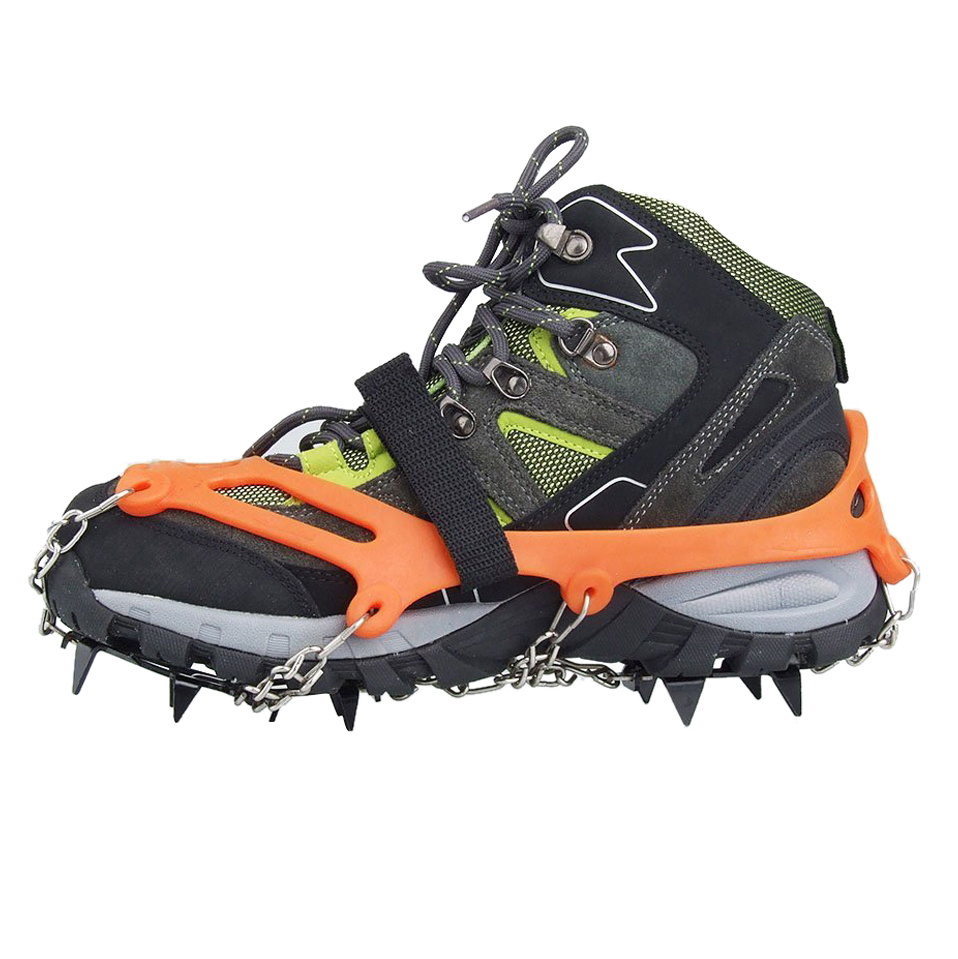2x 12 Teeth Claws Crampons Non-slip Shoes Cover Stainless Steel Chain Outdoor Ski Ice Snow Hiking Climbing Camping Hiking
