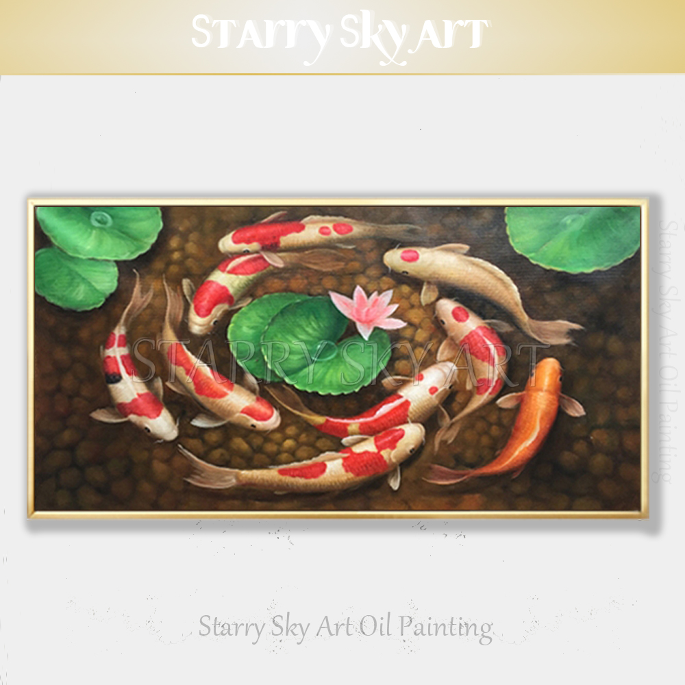 Professional Artist Pure Hand-painted High Quality Animal Fish Koi Oil Painting on Canvas Chinese Style Carp Fishes Oil PaintingProfessional Artist Pure Hand-painted High Quality Animal Fish Koi Oil Painting on Canvas Chinese Style Carp Fishes Oil Painting