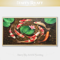 Professional Artist Pure Hand painted High Quality Animal Fish Koi Oil Painting on Canvas Chinese Style Carp Fishes Oil Painting