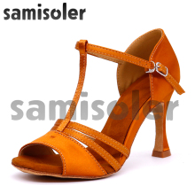 Samisoler Brown New Cloth Collocation Shine Ribbons Ballroom Fashion Dance Women Latin Competition Shoes