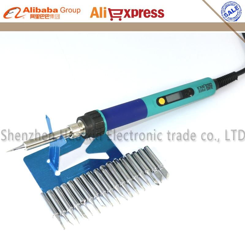 CXG 936d LCD Adjustable temperature Digital Electric Soldering station EU plug+17/PCS Solder tip Replace 936 Soldering station цена