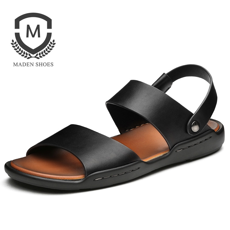 Maden Summer Waxy Leather Men Sandals Slippers 2 Uses Shoes Beach Black Brown Korean Casual All-matching Classic Elastic Band