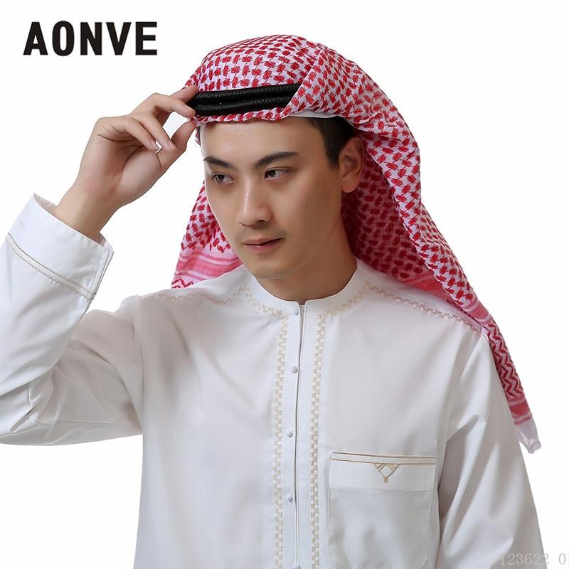 Aonve Islamic Hijab Muslim Men Long Head Covering Scarf -9251