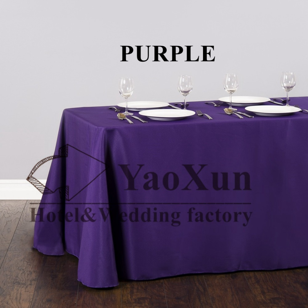 Purple Color Polyester Table Cloth \ Nice Looking Plain Tablecloth For  Wedding