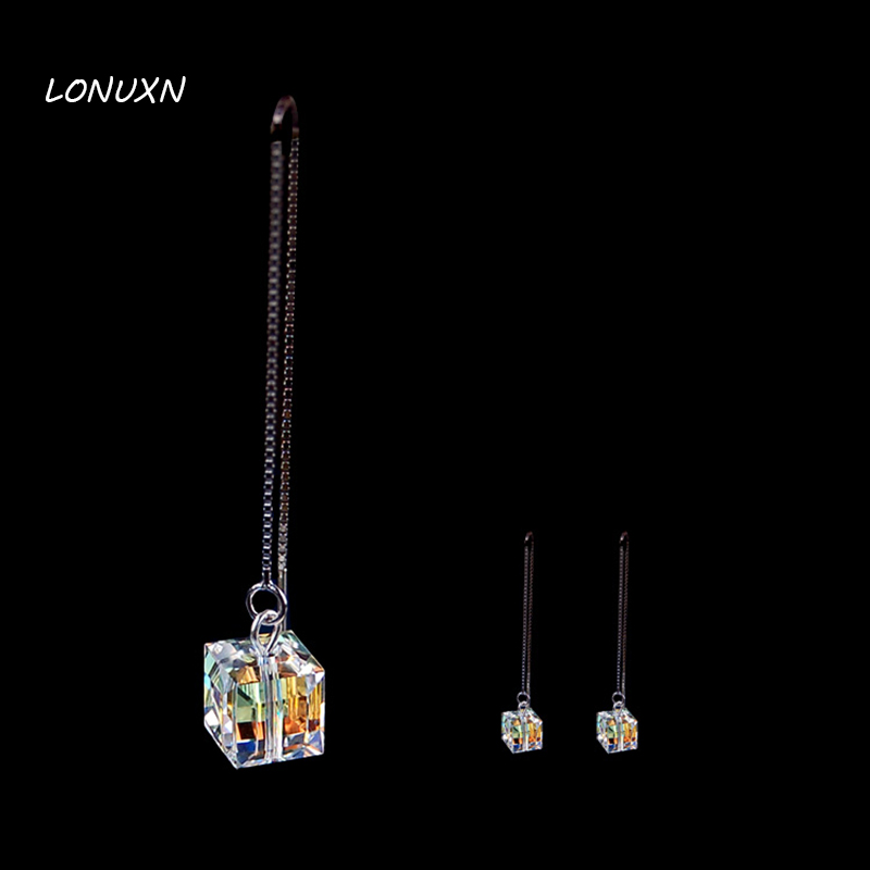 Vintage 925 Silver Long Earrings Austria cube Luxury Colorful Authentic White crystal earrings high quality female jewelryVintage 925 Silver Long Earrings Austria cube Luxury Colorful Authentic White crystal earrings high quality female jewelry