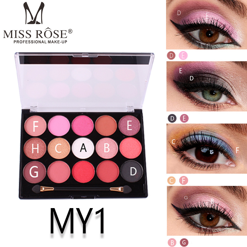 MISS ROSE 15 color pearl matte eye shadow palette professional makeup multicolor tray