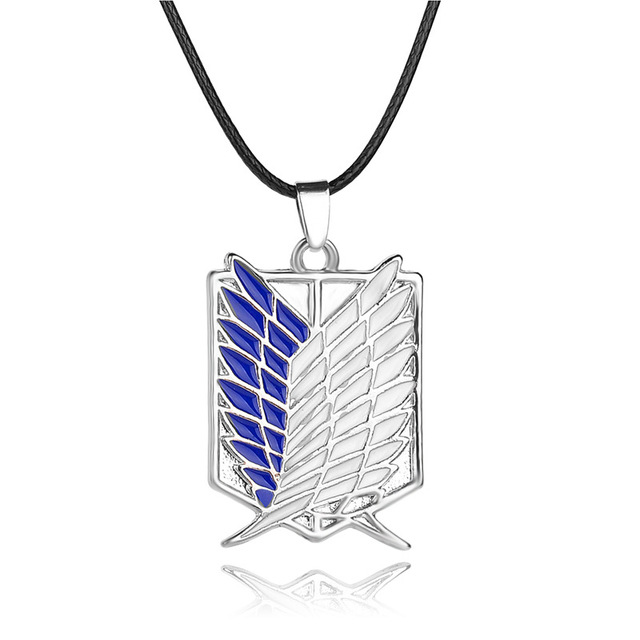Jeu bijoux attaque sur Titan colliers pendentifs ailes de liberté métal unisexe cuir chaîne mode bijoux pendentif or