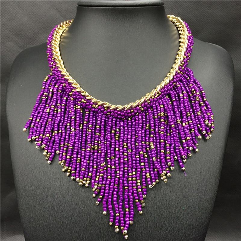 2019 bohème colliers mode pour les femmes bijoux Mujer tissé à la main Collier Long gland perles tour de cou colliers N20 1