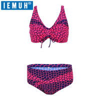 IEMUH 2018 New Plus Size Swimwear Bikini Women Swimsuit Sexy Halter Bikini Deep V Design Leopard Pattern Mid Waist Bathing Suit