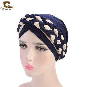Image 2 - 여성 브레이드 모자 이슬람기도 터번 모자 이슬람 터번 포함 모자 여성 더블 컬러 히 자브 브레이드 캡 헤어 액세서리