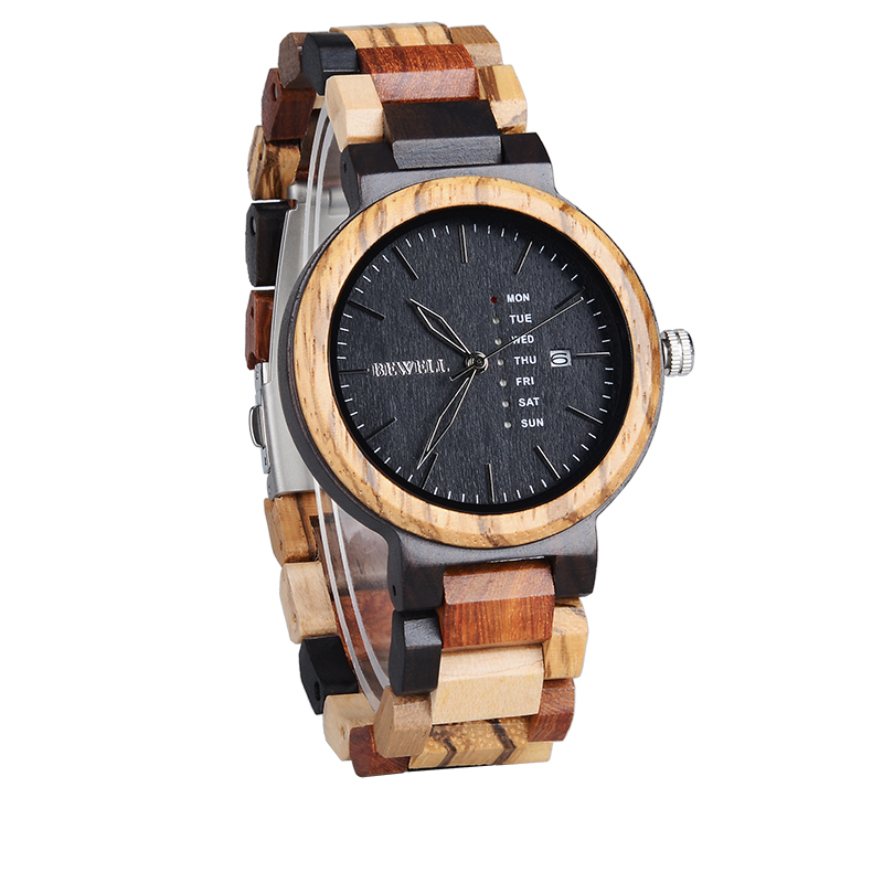 Bewell Wood Watch Zabra Retro-Design Men' Fashion for Boy Chirstmas Gift Male's
