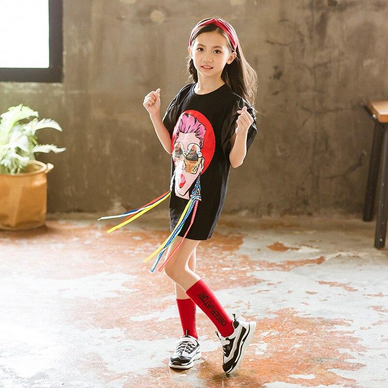 Kids Dresses for Big Girls Toddler Dresses 2019 Summer Children Fashion Casual Cartoon 4 5 6 7 8 9 10 11 12 13 Years