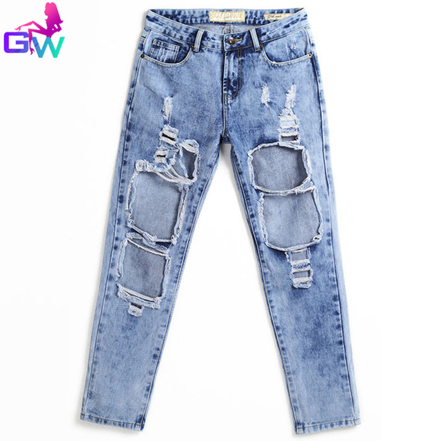 Aliexpress.com : Buy Ladies Big Ripped Jeans 2015 Washed Out ...