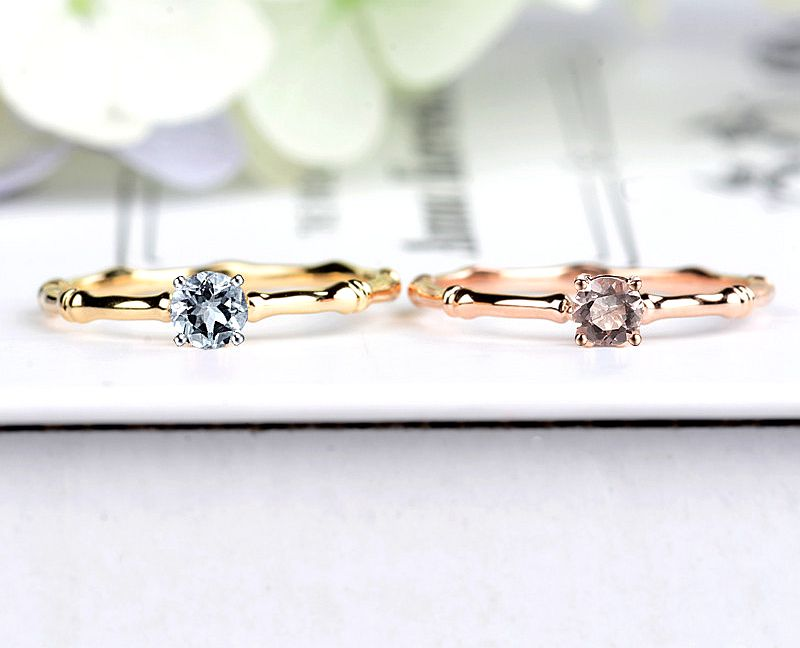 Solid 14k Rose Gold Natural Morganite Wedding Ring Solid 14k Yellow Gold Aquamarine Engagement Ring for Women Fine Jewelry