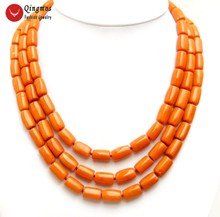 """Qingmos Natural Orange Coral 3 Strands Necklace for Women with Genuine 10-12mm Thick Slice Coral Chokers Necklace 18"""" Jewelry"""