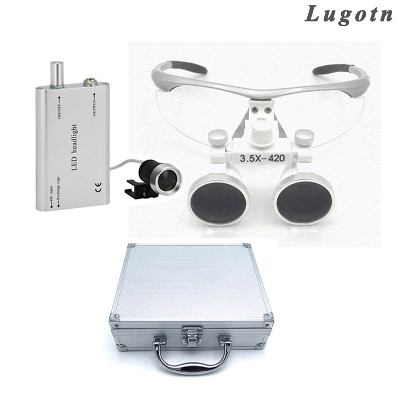 Metal box 3.5X times enlarger dental nose operation loupe led surgical doctor operating magnifier illusion money box dream box money from empty box wonder box magic tricks props comedy mentalism gimmick