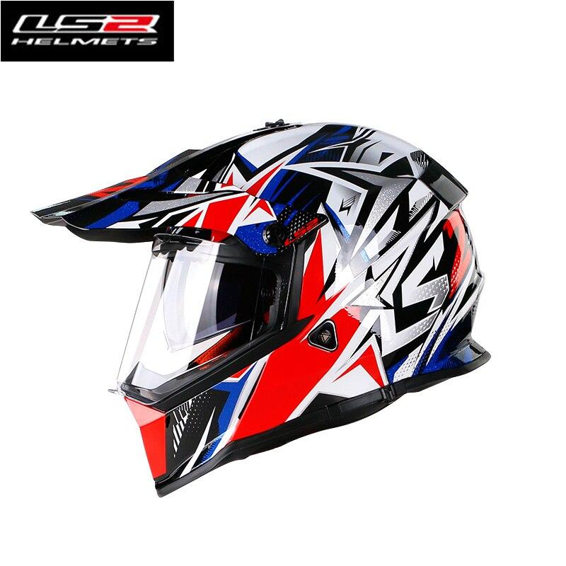 100% prawdziwej LS2 MX436 terenowy kask motocyklowy mężczyzna kobiet moto krzyż kask dirt bike ATV racing podwójne soczewki moto casco