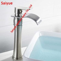 Hot Deck Mounted High type gourd shape Waterfall Spout Bathroom Basin Faucet Nickel Brushed Brass Vanity Vessel Sink Mixer Tap