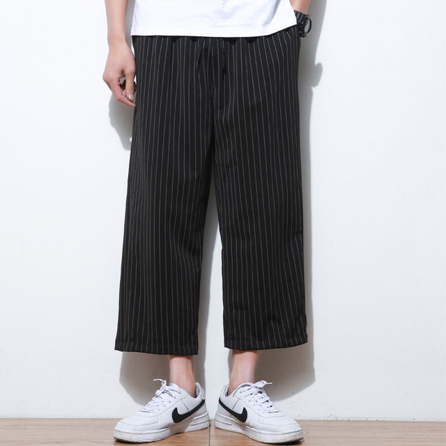 Straight Casual Thin Loose Cropped Cuffless Pants for Men
