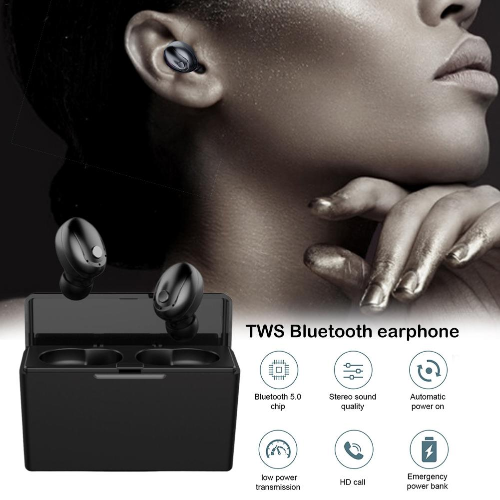 <font><b>T5</b></font> <font><b>TWS</b></font> Bluetooth 5.0 Earphone Binaural Stereo Wireless Earphone IPX5 Waterproof Sports Fitness Headset With Charging Compartment image