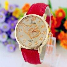 2017 New Elegant Fashion Ladies Watches Heart Leather Women Watch Analog Quartz Watches Women Men Casual Hours Wrist Watch