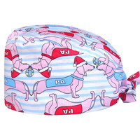 dachshund-print-veterinarian-scrub-caps-for-women-and-men-surgical-hats-medical-dental-clinic-tieback-classic-nurse-cap-pet-hat