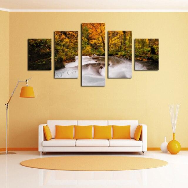 Unframed 5 Panels Natur Gelb Baum Wasser Leinwanddruck Malerei Moderne  Leinwand Wandkunst Für Wand Dekor