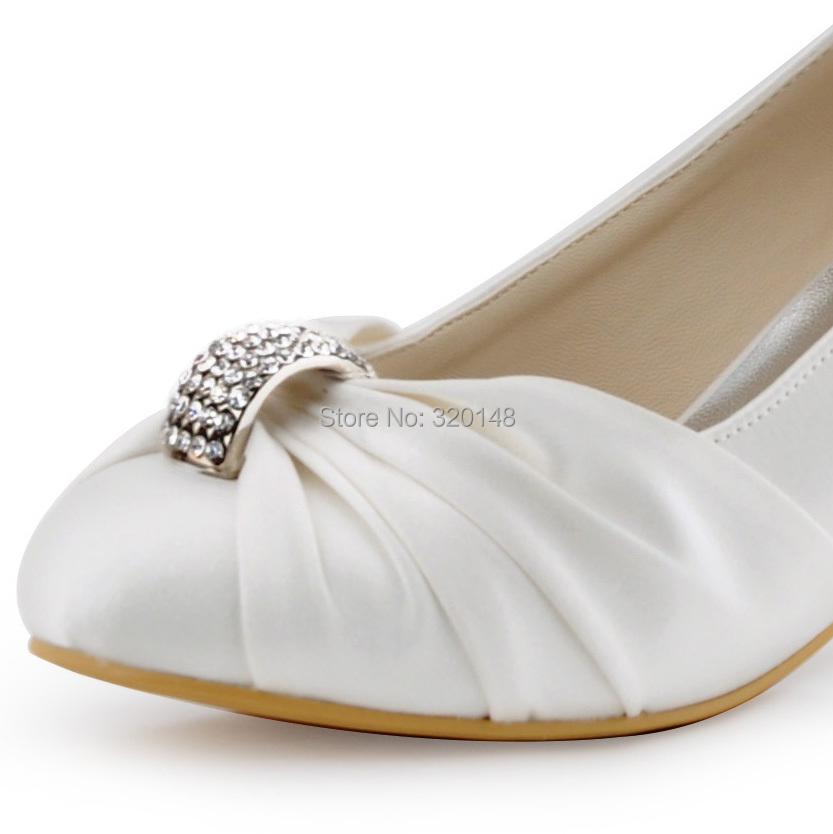 White Ivory Woman Shoes Wedding Bridal Low Heels Comfort Mary Jane  Rhinestones Buckle Lace ladies bride Prom Party Pumps EP1085USD 42.70 pair 4f21cd7a54c6