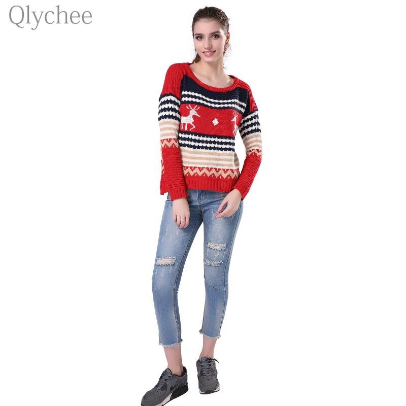 Qlychee Autumn Winter Women Christmas Sweater Deer Print Pullover Long Sleeve Irregular Hem Warm Lady Jumper