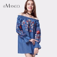 E Manco 2017 New Women S Fashion Wild Was Thin And Thin Shoulders Long Sleeved Floral