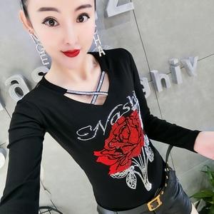 Image 1 - Korean Fashion V Neck Diamonds Rose Tshirt 2019 New Autumn Winter Women Top Clothes Slim Shirt Camiseta Mujer Streetwear T97616