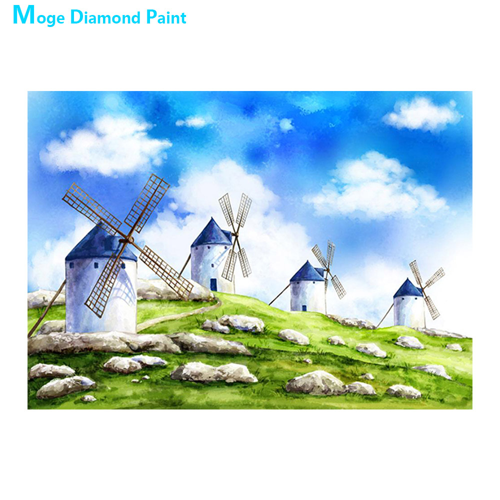 cartoon scenic windmill Diamond Painting Full Round New DIY Sticking Drill Cross Embroidery 5D children simple Home Decoration in Diamond Painting Cross Stitch from Home Garden