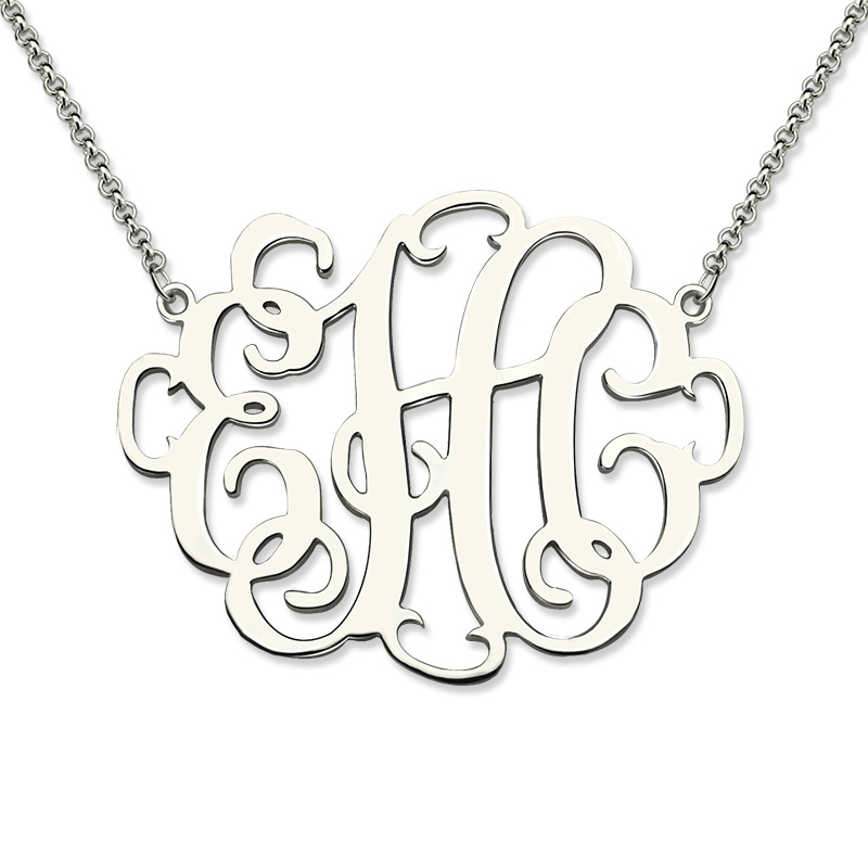 Wholesale Stylish Silver Monogram Necklace Personalized 3
