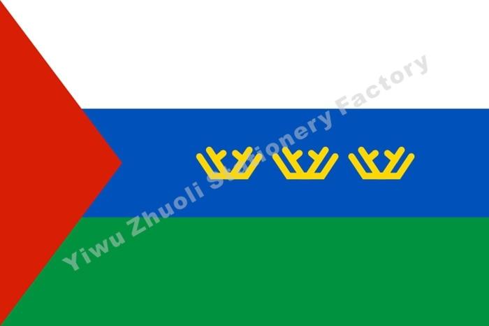 Rusland Tyumen region FLAG 150X90 cm (3x5FT) 120 g 100D polyester dobbeltstitched Høj kvalitet Gratis forsendelse