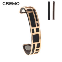 Cremo Labyrinth Bangles For Women Rose Gold Stainless Steel Bracelets Bijoux Femme Manchette Reversible Cuff Leather Pulseiras(China)