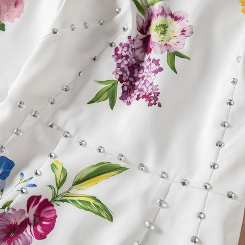 Gaine Fleur Vêtements Collants Courtes Tunique Moulante 2018 Mode Manches longueur Robe Genou À Perles Imprimer De Femmes Cristal Dames XqdXwWOxp