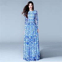 Free Shipping New 2017 Fashion Women's Long Sleeve Vintage Blue And White Print Dress Brand Dress