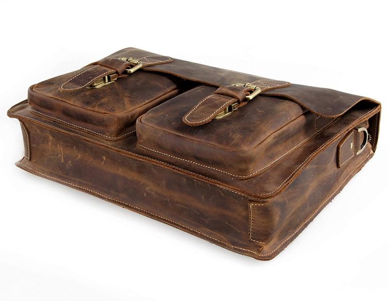 Augus мужские модные коричневые деловые портфели из натуральной коровьей кожи, сумка на плечо для ноутбука, сумка мессенджер 7105B 1 - 4
