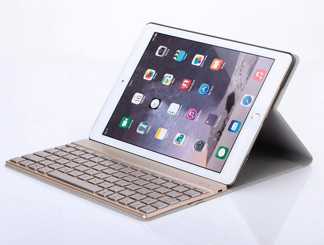 Top Quality For apple iPad Pro 9.7 inch Ultra Aluminum backlight Bluetooth Keyboard with PU Leather Case Protective Shell Cover