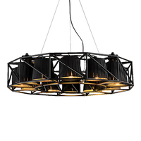Modern 16 Head Led Pendant Light Toolery Dia 75 Creative Painted Iron Body Black Lampshade Hanging