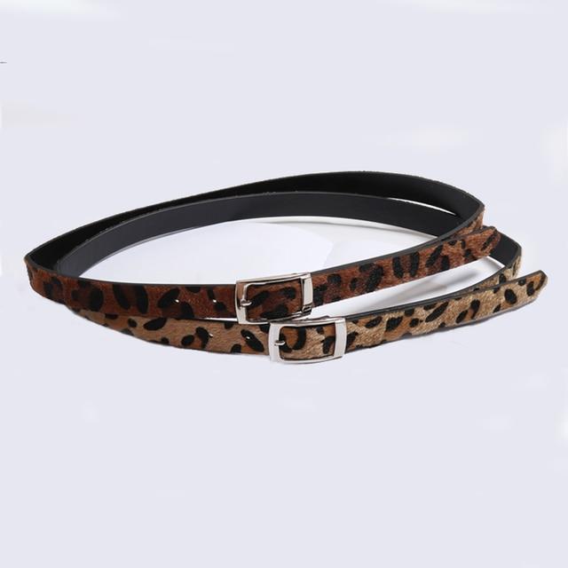 HATCYGGO de las mujeres de la moda cinturón de crin de caballo de la cintura para mujeres de cuero de la Pu leopardo hebilla de Metal. Cintura cinturón de cintura estrecha faja