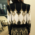 HIGH QUALITY Newest Fashion 2017 Designer Jacket Women's BAROQUE Pattern Gold Thread Knitting Sweater Cardigan Outer Coat