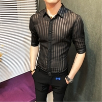 2018 Transparent Stripe Shirt Men Solid Black White Business Casual Button Down Sexy See Through Slim Fit Shirt Camisa Masculina