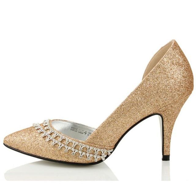 Glitter Rhinestone Wedding Dress Shoes Champagne Color High Heel Pointed Toe Bridal Lady
