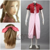 Athemis Anime Final Fantasy Aerith Red Suit Cosplay Costume Hair Accessories Bracelet Custom Made Size